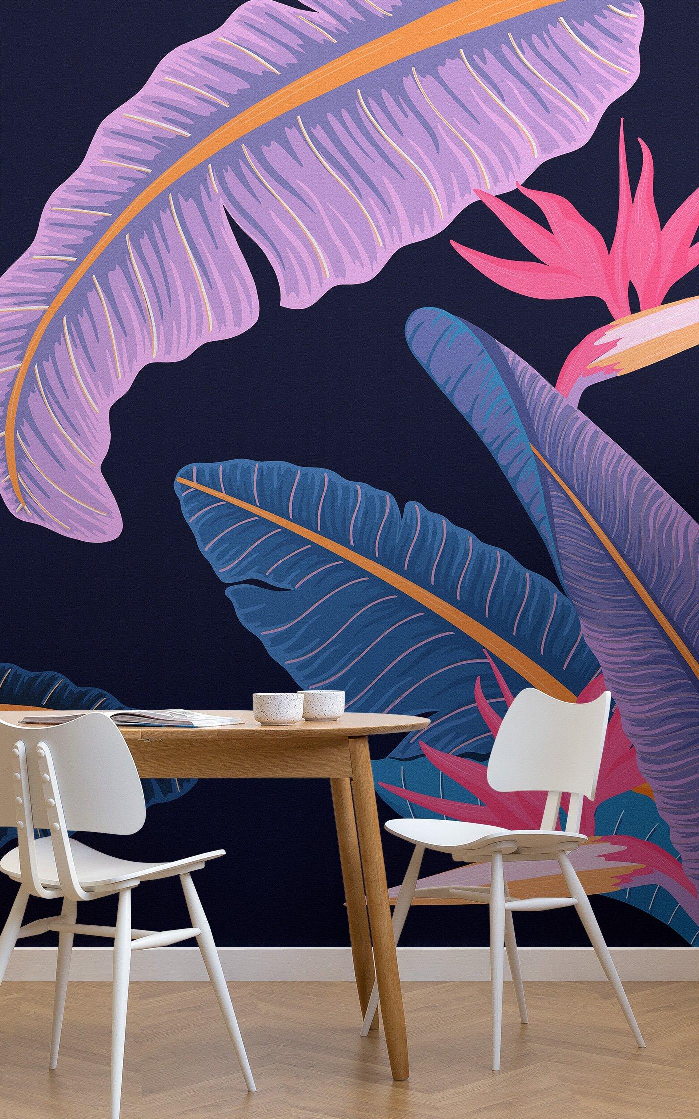 blue dark tropical wallpaper