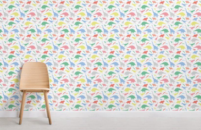 Multi-coloured Children's Dinosaur Wallpaper Mural