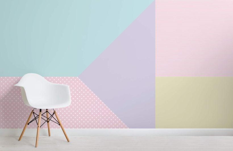 Multi-coloured Pastel Geometric Pattern Wallpaper Mural
