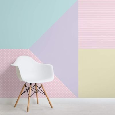 Multi-coloured Pastel Geometric Pattern Wallpaper Mural