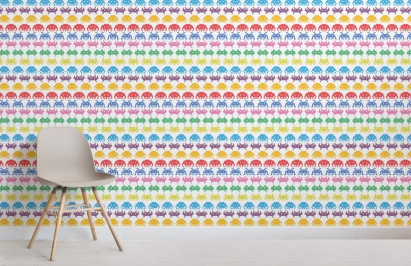 Multi-coloured Space Invaders Arcade Game Wallpaper Mural