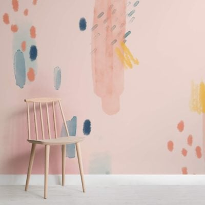 Multi-coloured Paint Brush Strokes Abstract Wallpaper Mural