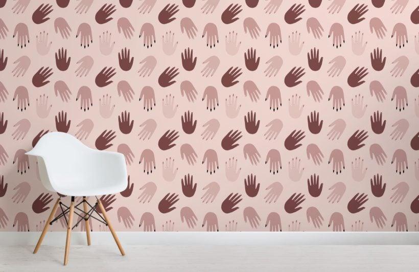 Natural Tone Hand Pattern Wallpaper Mural