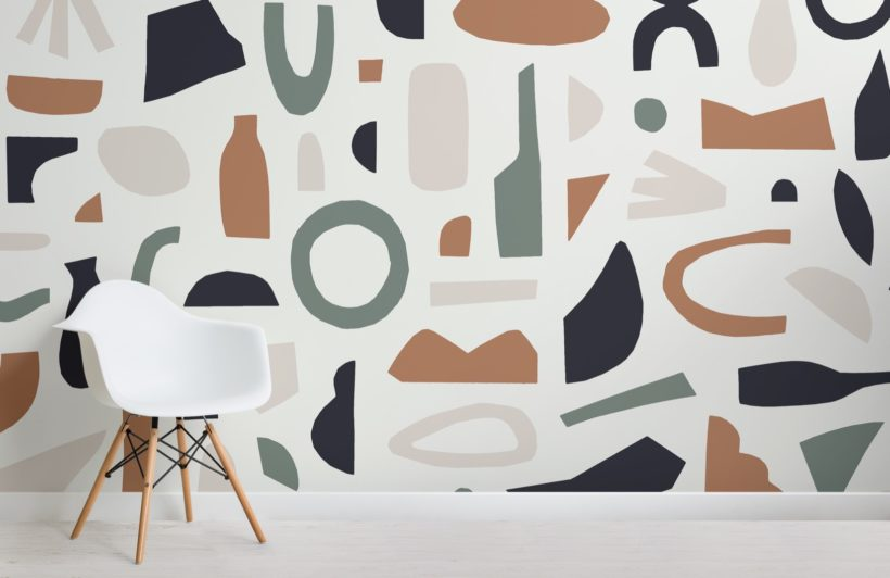 Navy and Brown Abstract Shapes Wallpaper Mural