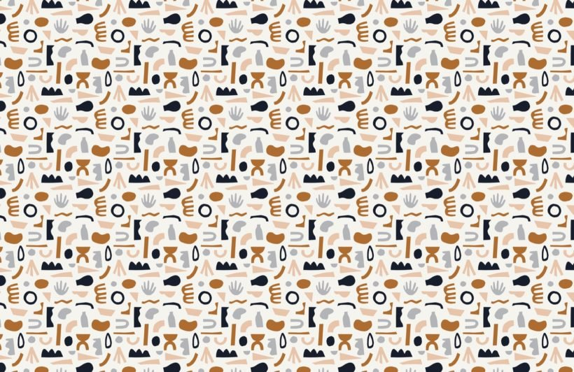 Navy and Neutral Abstract Shapes Pattern Wallpaper Mural