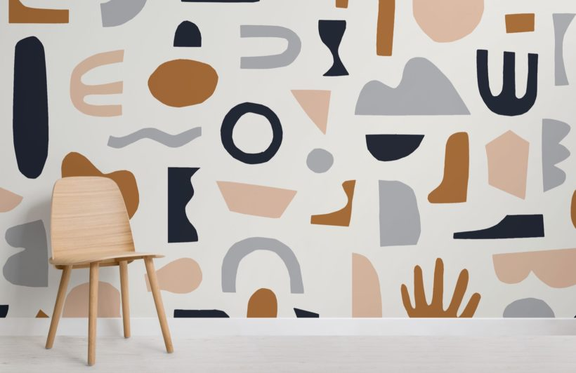 Navy and Neutral Abstract Shapes Wallpaper Mural