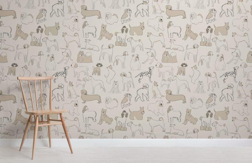 Neutral Bulldog and Sausage Dog Pattern Pet Wallpaper Mural
