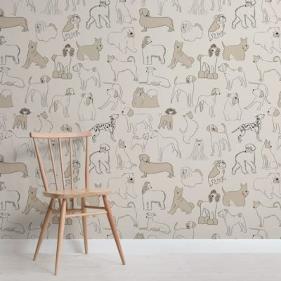 Neutral Bulldog and Sausage Dog Pattern Pet Wallpaper Mural