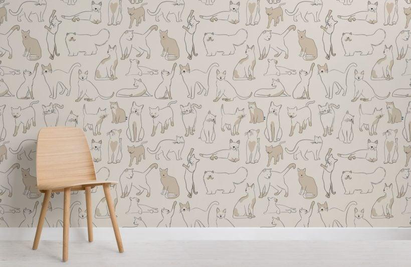 Neutral Cool Cat Pattern Wallpaper Mural