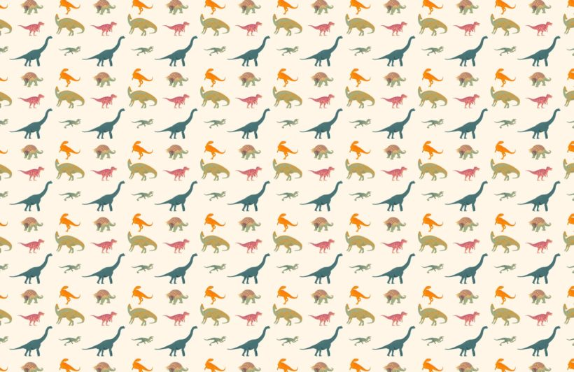 Neutral Dinosaur Pattern Wallpaper Mural