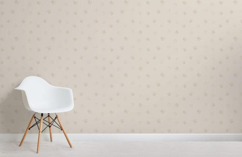 Neutral Dog Paw Print Pattern Wallpaper Mural