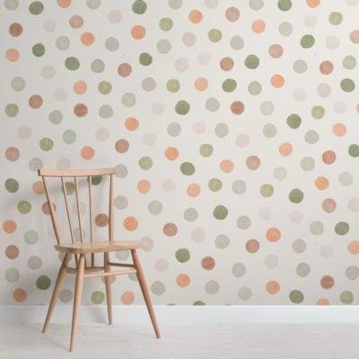 Neutral Tone Watercolour Polka Dot Wallpaper Mural
