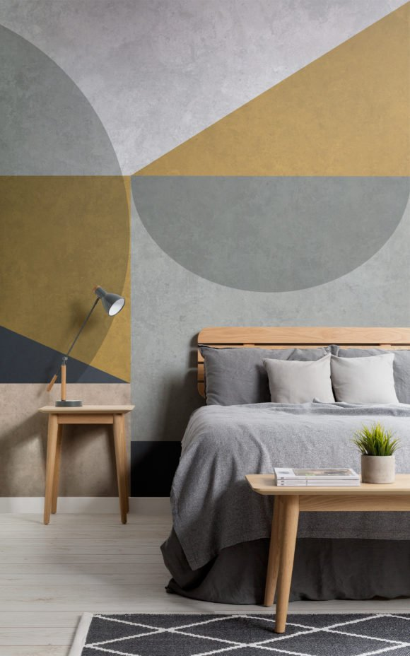 Nico geometric wall mural in bedroom