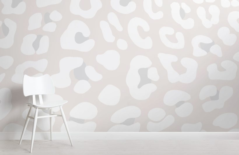 Off White Leopard Print Wallpaper Mural