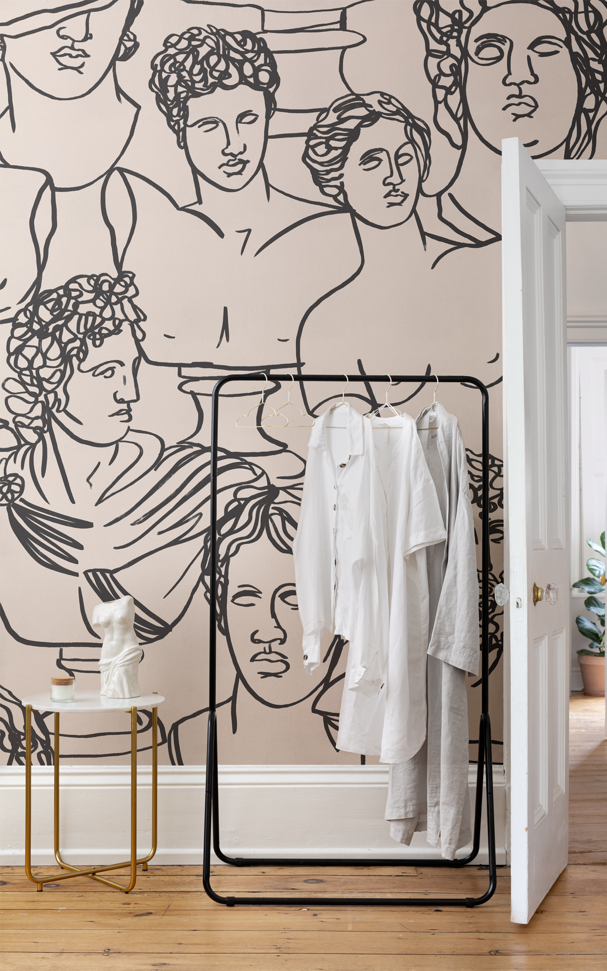 Olympia Ancient Greece statue wallpaper mural in room setting