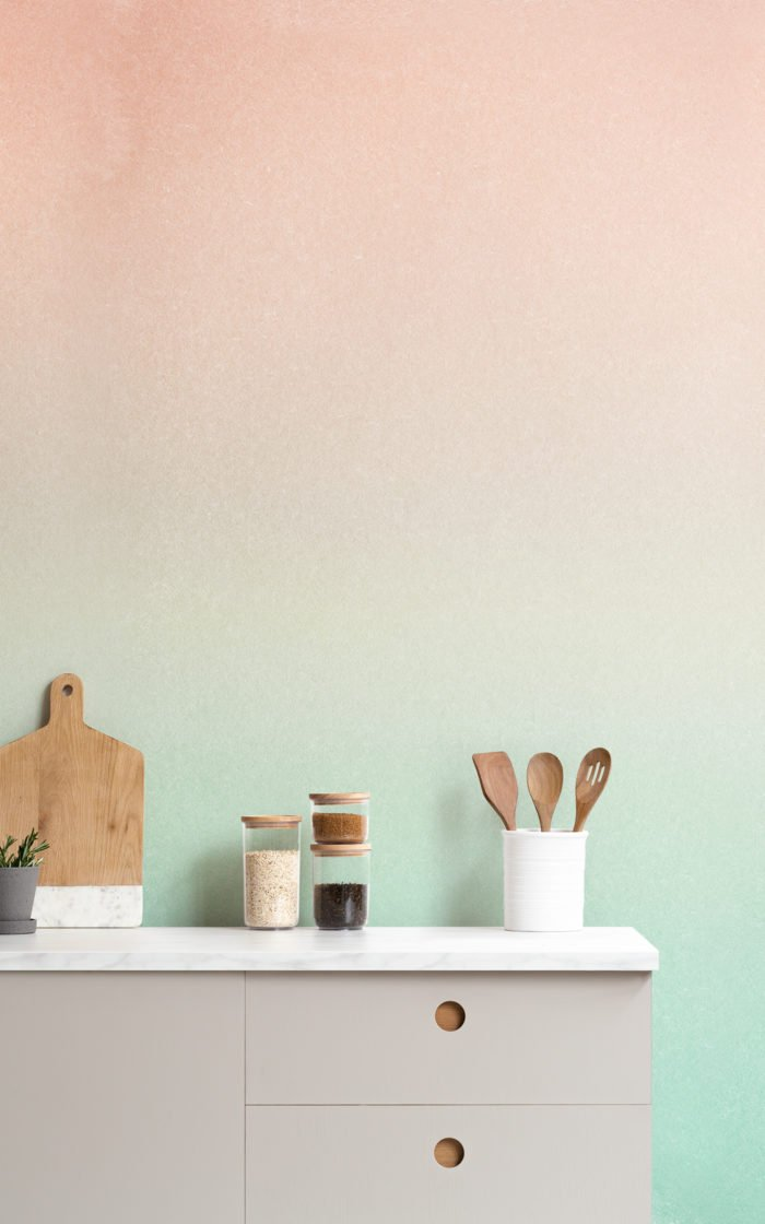 peach and turquoise ombre fade wallpaper