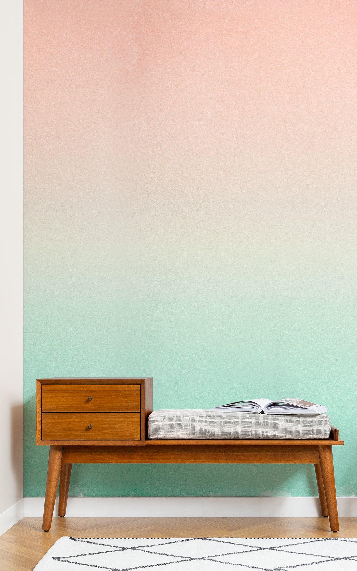 peach and green ombre fade wallpaper