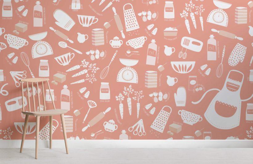 Orange Carrot Cake Baking Wallpaper Mural