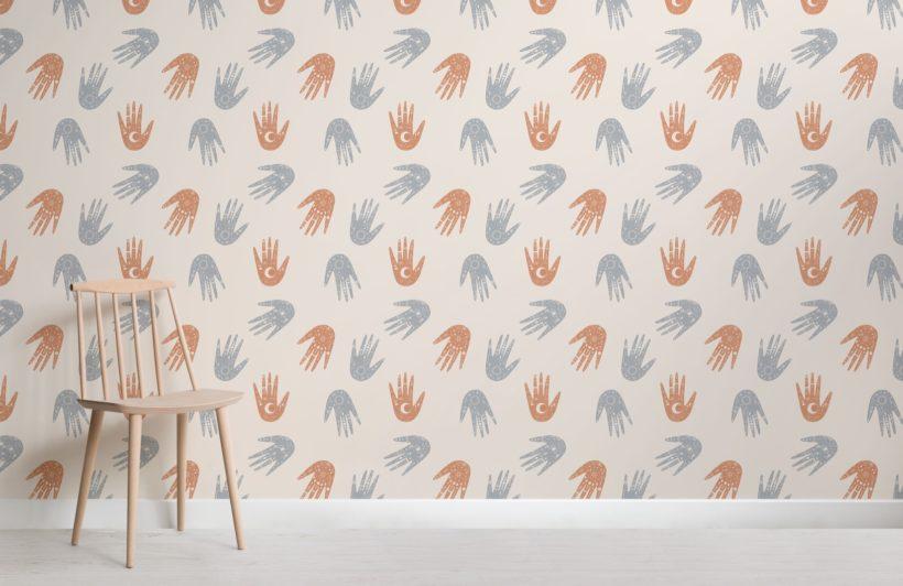 Orange Hand Pattern Cosmic Symbols Wallpaper Mural