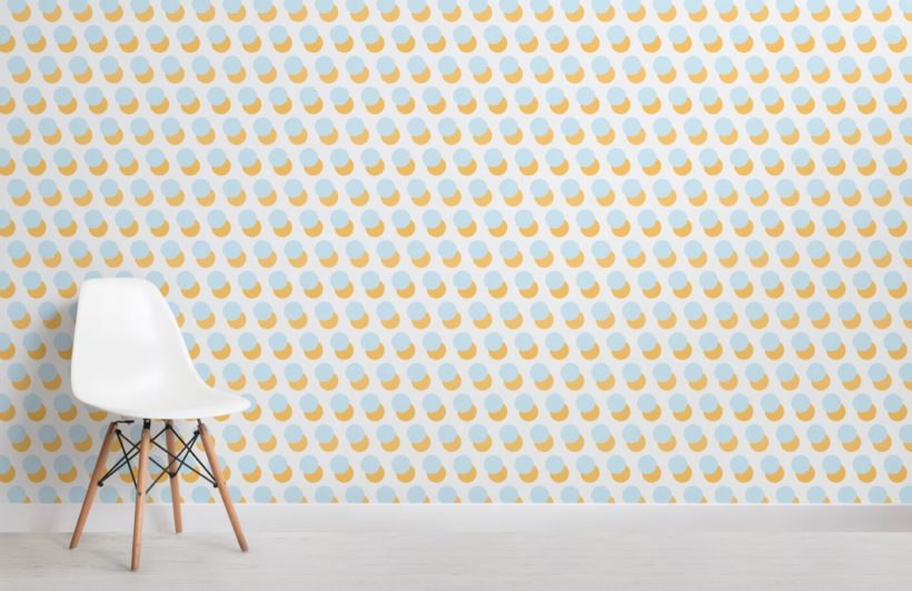 Orange and Blue Circle Pattern Wallpaper Mural