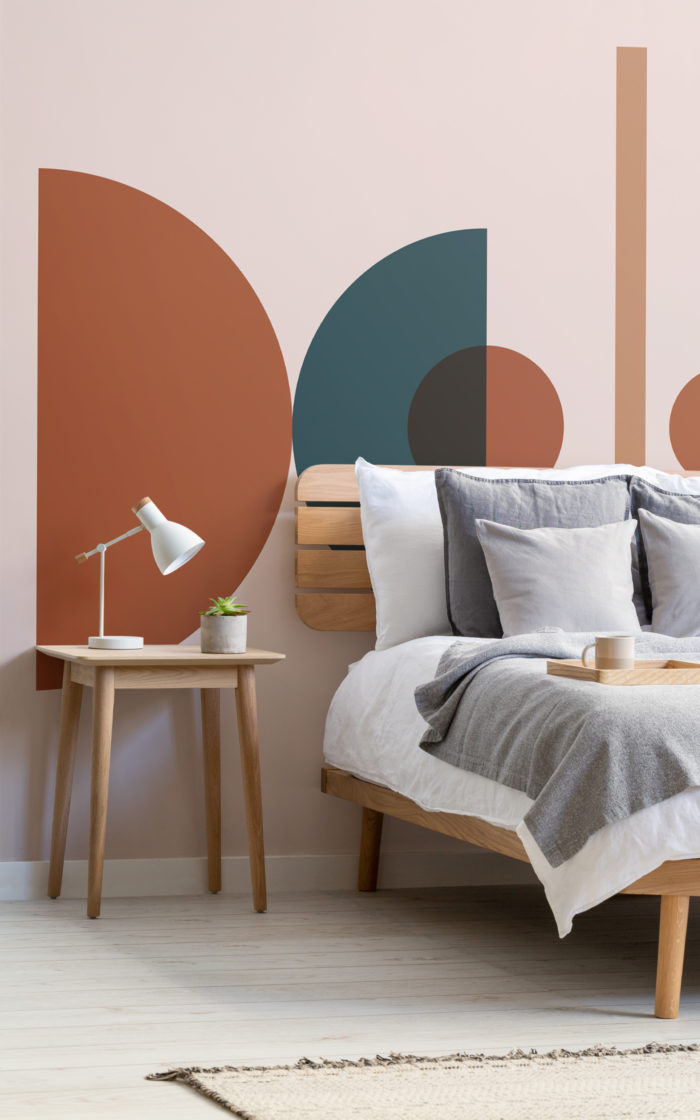 Panton mid century geometric wall mural in bedroom
