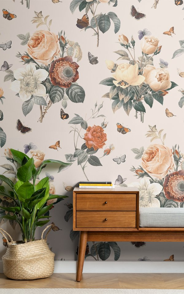 Campaign Poster - Cream & Orange Vintage Floral Butterfly Wallpaper Mural