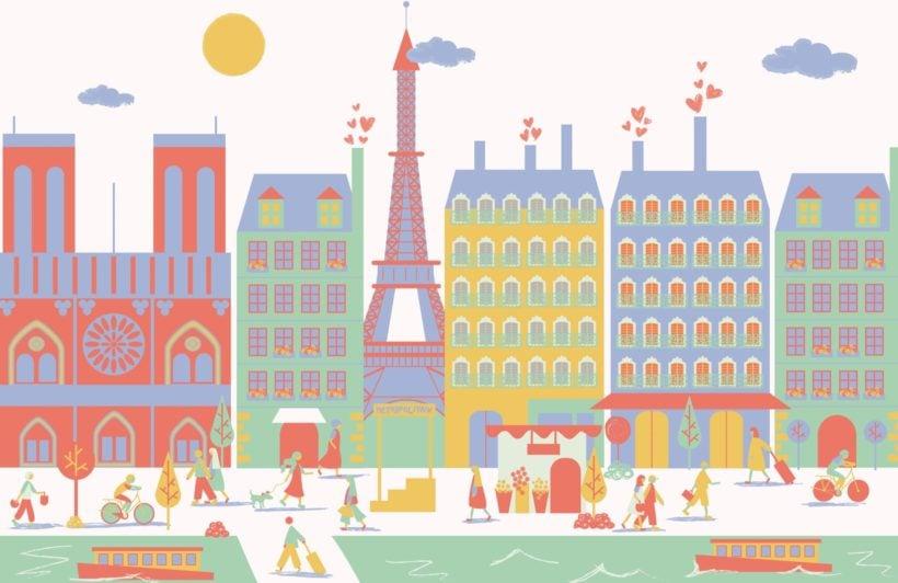Paris City Living Mural Wallpaper