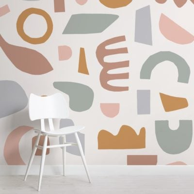 Pastel Rustic Abstract Shapes Wallpaper Mural