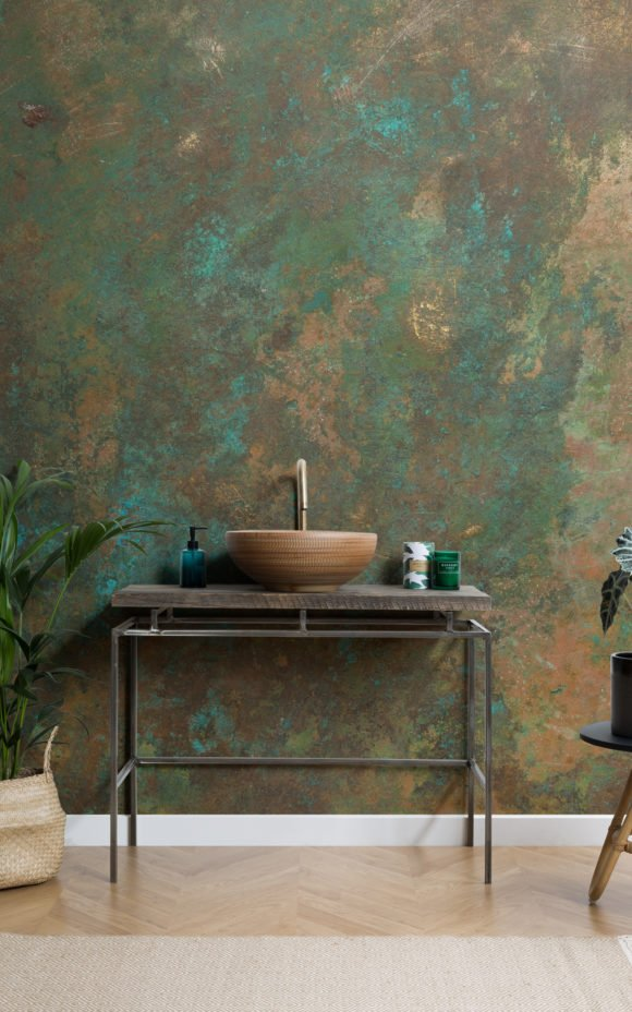 Faux metal effect wallpaper in bathroom