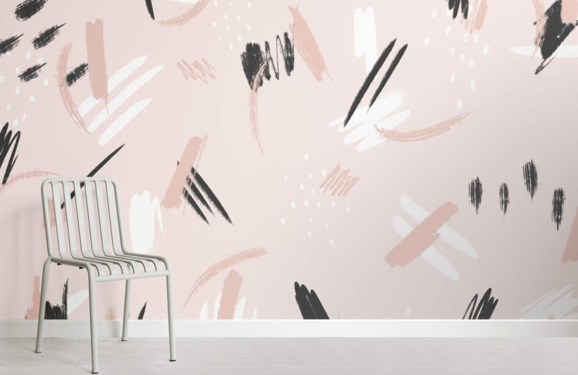 PeacPeach and Black Paint Brush Strokes Abstract Wallpaper Muralh and Black Paint Brush Strokes Abstract Wallpaper Mural