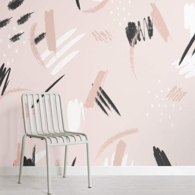 Peach and Black Paint Brush Strokes Abstract Wallpaper Mural