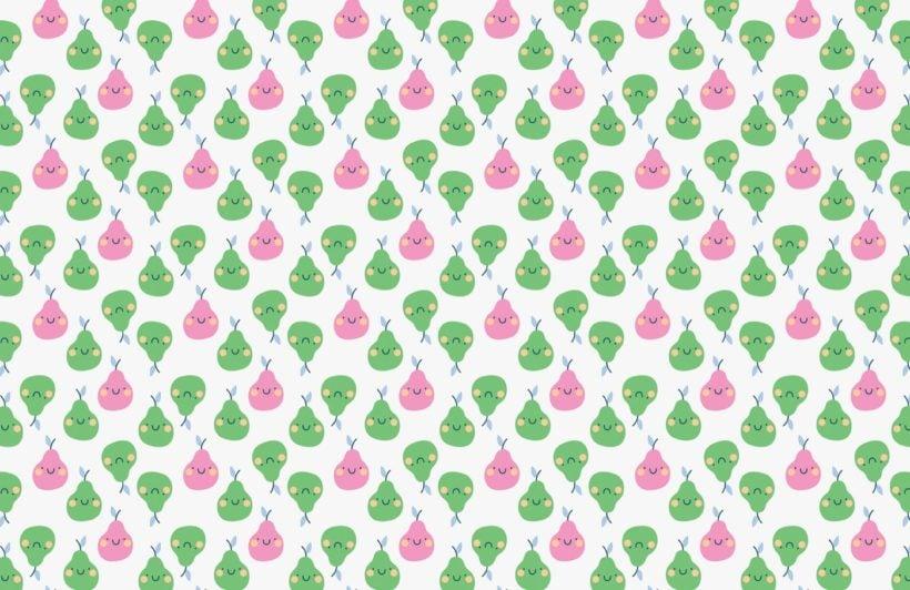 Pear Fruit Pattern Wallpaper Mural