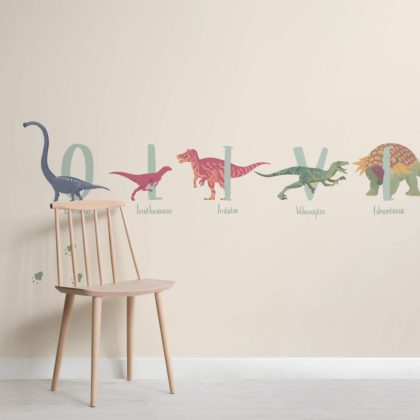 Personalised Name Dinosaur Wallpaper Mural Image