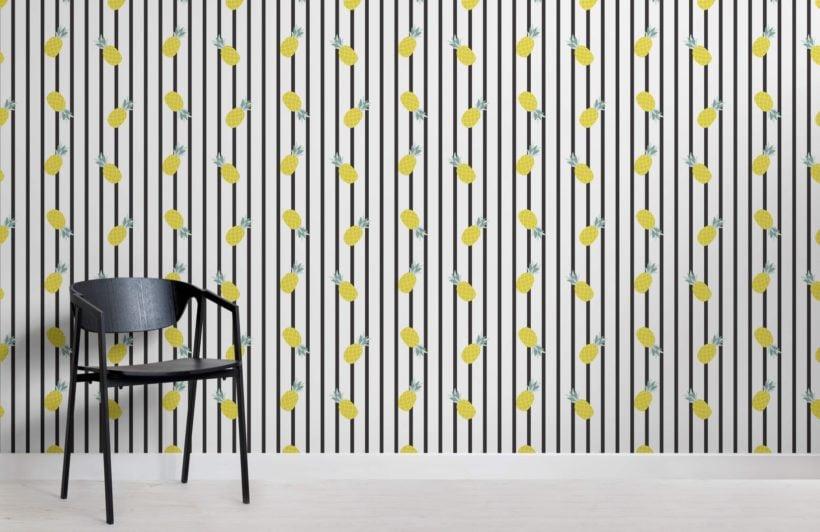 Striped pineapple pattern wallpaper mural