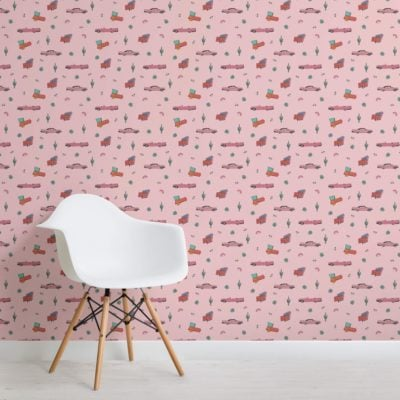 Pink American Car Themed Wallpaper Mural
