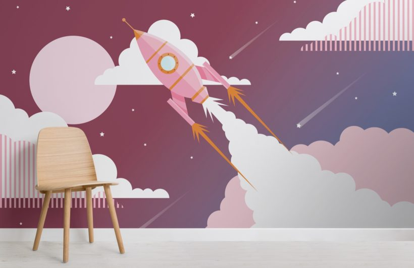 Pink Children's Retro Space Rocket Wallpaper Mural