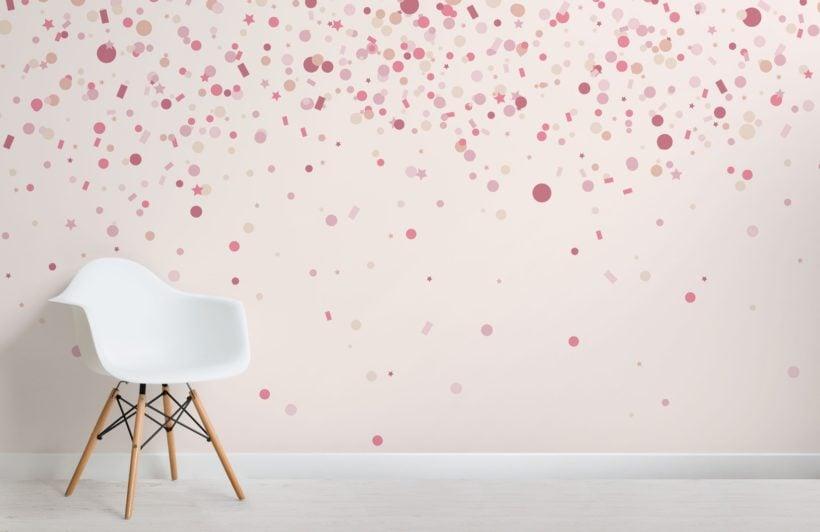 Pink Confetti Sprinkles Wallpaper Mural