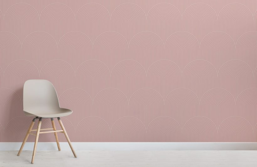 Pink Geometric Thin Striped Loop Wallpaper Mural