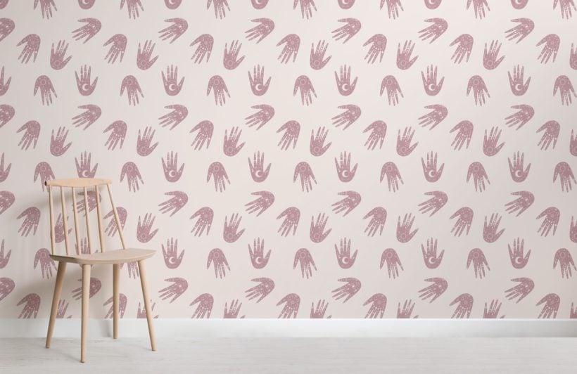 Pink Hand Pattern Cosmic Symbols Wallpaper Mural
