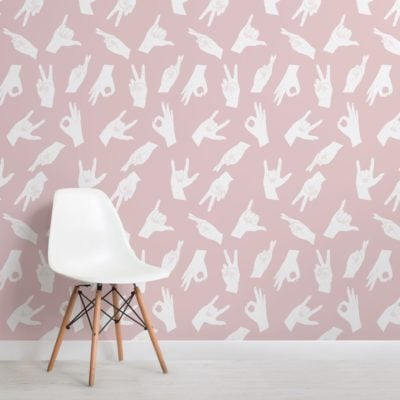 Pink Hand Sign Pattern Wallpaper Mural