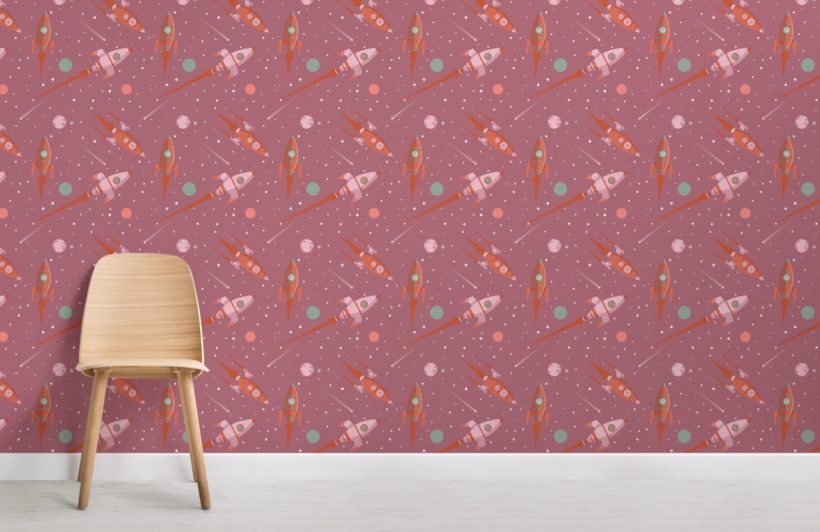 Pink Illustrated Space Themed Rocket Pattern Wallpaper Mural
