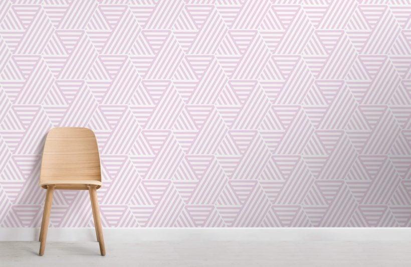 Pink Striped Triangle Geometric Wallpaper Mural