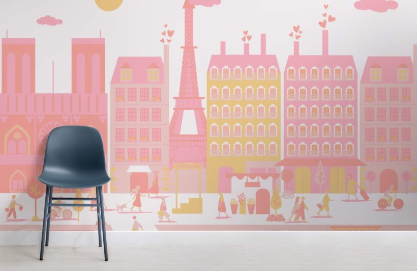 Pink Paris City Living Mural Wallpaper