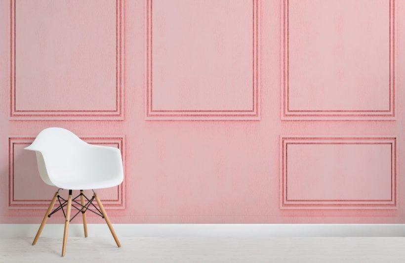 Pink Square Georgian Wood Panel Effect Wallpaper Mural