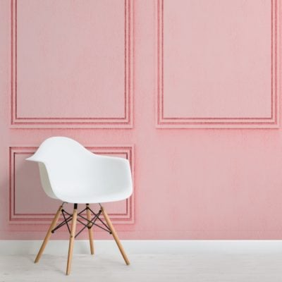 Pink Square Georgian Wood Panel Effect Wallpaper Mural