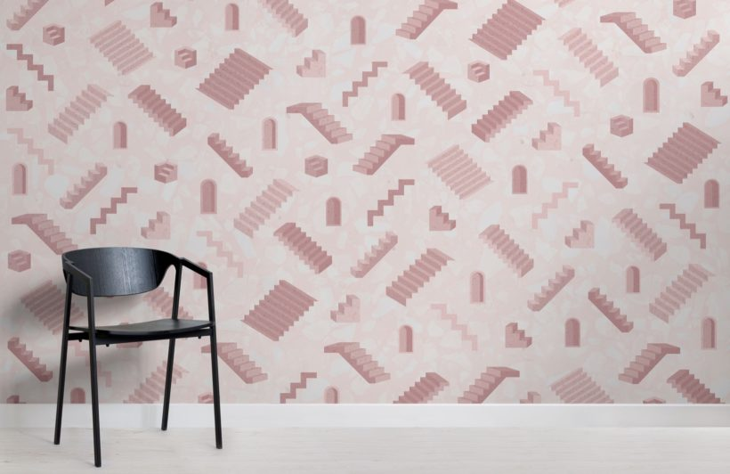 Pink Stairs Modern Architectural Wallpaper Mural