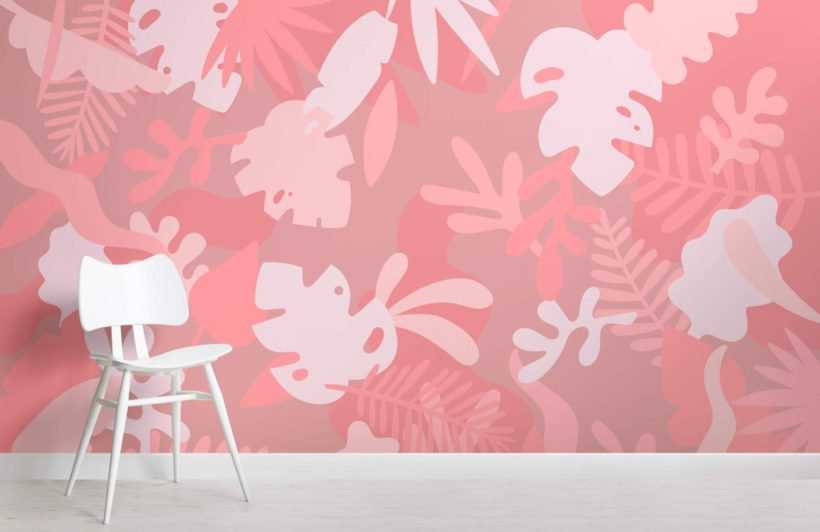 Pink Tropical Jungle Leaf Wallpaper Mural