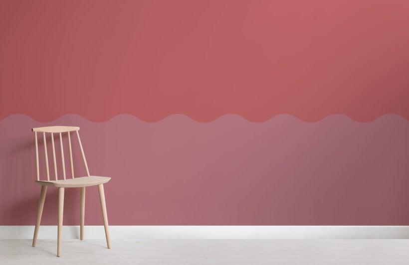 Pink Two Tone Wave Effect Geometric Wallpaper Mural