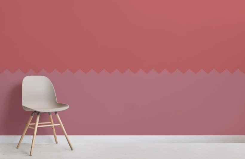 Pink Two Tone Zig Zag Geometric Wallpaper Mural