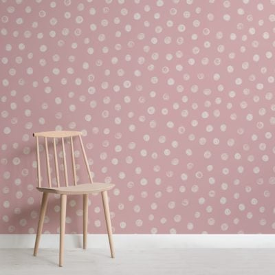 Pink Watercolour Polka Dot Wallpaper Mural